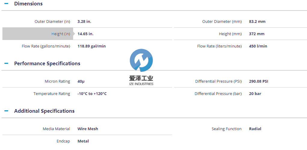 MAHLE-滤芯PI8345DRG40 爱泽工业 izeindustries (2)